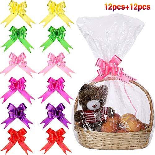 Norme 12 Stücke Klare Korb Taschen Cellophan Wickeln Tasche und 12 Stücke Ziehen Bogen Knoten Band Bögen für Geschenkkorb Verpackung, 32 x 22 Zoll
