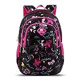 Zmsdt Mittelschule-Studenten-Rucksack-Kind-Schmetterlings-und Schatz-Muster-Taschen-Schultasche Im Freienrucksack-Kind-Rucksack (Farbe : SCHWARZ)