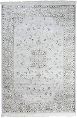 Carpeto Rugs Teppich Orientalisch Kurzflor 100% Viskose Creme 160 x 230 cm L - Viskose-teppich