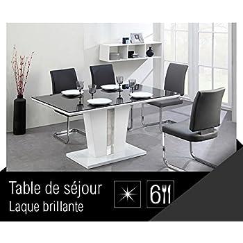 398f9a44261ee0 TREVISE Table a manger 6 personnes 150x90 cm - Noir et blanc  Amazon ...