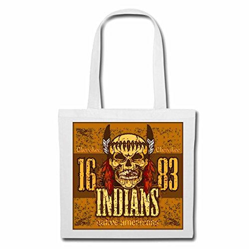 Tasche Umhängetasche Cherokee Indianer Amerika Indians Indianer HÄUPTLING ROTHAUT Western Indians Einkaufstasche Schulbeutel Turnbeutel in Weiß