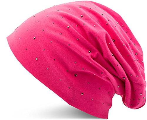Jersey Baumwolle elastisches Long Slouch Beanie Unisex Herren Damen mit Strass Stern Steinen Mütze Heather in 35 verschiedenen Farben (7) (Pink)
