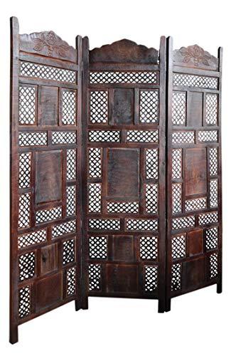Orientalischer Paravent Raumteiler aus Holz Ishara 150 x 181cm hoch in Braun | Indischer Trennwand als Raumtrenner oder Dekoration im Zimmer oder Sichtschutz im Garten, Terrasse oder Balkon