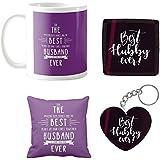 YaYa Cafe Best Husband Love You Forever Ceramic 330ml Coffee Mug With Cushion Cover, Coaster, Keychain (Purple)