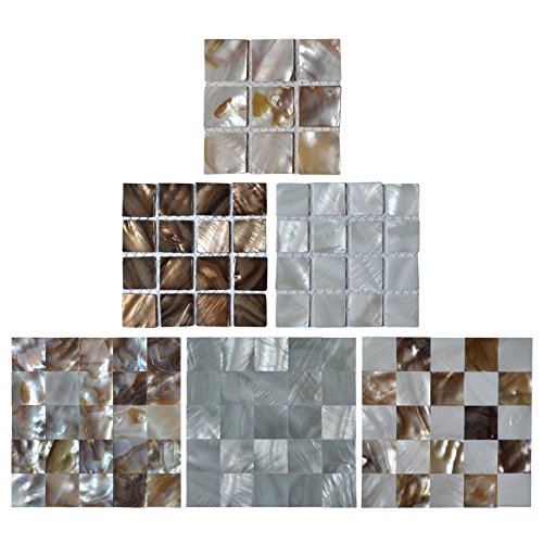 Art3d Oyster Mother of Pearl Shell Mosaic Tile for Kitchen Backsplashes, Bathroom Walls, Spas, Pools, 6 Samples