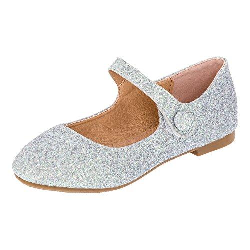 Festliche Mädchen Glitzer Ballerinas mit Leder Innensohle M373si Silber 21
