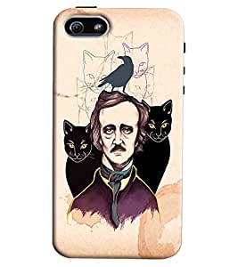 Blue Throat Man With Two Cats Printed Designer Back Cover For Apple iPhone 5s