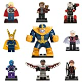 XH 8 Minifiguras de Avengers – Infinity War. Incluye: Thanos, Thor, Máquina de guerra, Nébula, Star Lord, Loki, Falcon, El coleccionista + Ojo de Halcón