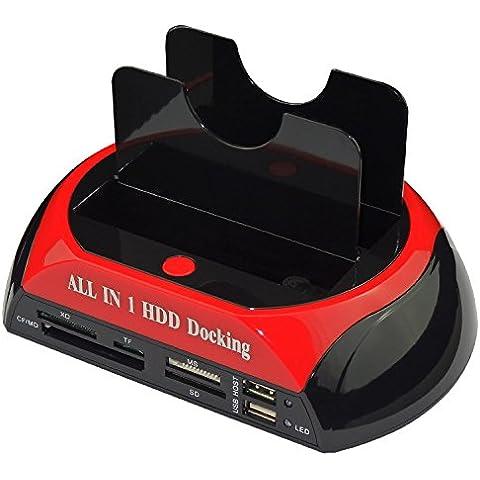 Storite doppio Bay USB 3.0 / 2.0 IDE SATA Todo en 1 estación de acoplamiento de disco duro HDD Muelle 2,5 por pollici / 3,5 pollici IDE de disco duro SATA (compatibile con Windows 2000 / XP / Vista / 7/8, Mac OS 9.1 / 10.8.4) con bífida