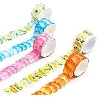 Zhi Jin 1Roll pétalos papel Washi cinta de carrocero cintas de Recortes romántico flor DIY manualidades adhesivo pared planificador decoración colección regalo, color azul