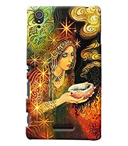 Blue Throat Girl In Dress Hard Plastic Printed Back Cover/Case For Sony Xperia T3
