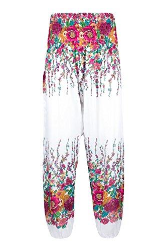 Lofbaz Damen Gerettet Taille Blumen Yoga Harem Hose Weiß & Rosa L - Blumen-pumphose