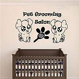 ziweipp Animaux Toilettage Salon Peigne pour Chien Sticker Mural Beauté Animal Animal Salon Décoration Murale Affiche Mural De Mode Ornement Décor 57 * 95 cm...
