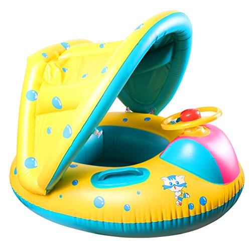 Stillcool anello di nuoto gonfiabili mare per bambini neonati con copertura, salvagente gonfiabile neonato canotto gonfiabile bambini sedile di sicurezza con parasole regolabile piscina giocattoli per 12-36 mesi toddler kids child