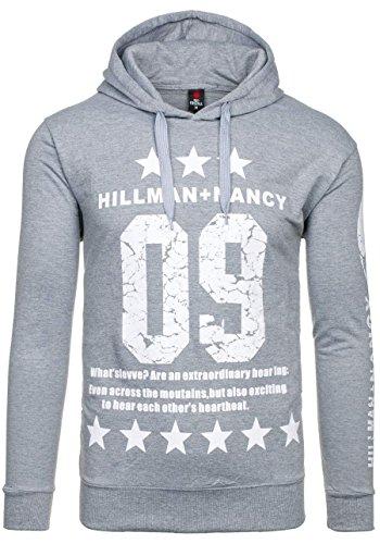 BOLF Herren Sweatshirt Pullover mit Kapuze mit Kordel Top AK72 Grau_FB_8056