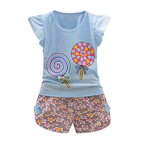 Webla Toddler Kids Baby Girls Lollipops Ruffles Sleeve T-Shirt+Floral Short Pants Clothes Set Ages 1 to 4 Years