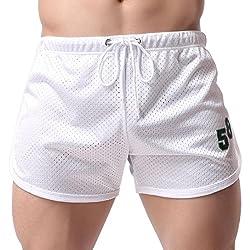 Shorts de Sport/Shorts de Bain/pour Homme, Covermason Homme Pantalon de Sport Court Short Taille Élastique Bouffant Legging Pants Casual pour Fitness Jogging Gym (Blanc, L)