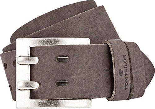 TOM TAILOR Jeansgürtel 4,5 cm breite Herren Ledergürtel Doppeldorn Made in Germany - TG1047 (Bundweite: 80cm, Braun)