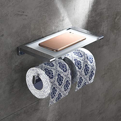 Doppelter Toilettenpapierhalter Glas Messing Wandhalterung Seidenpapier Rack für Moderne Küche und Bad Dekor