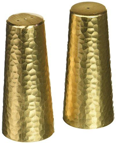 Matte Gold Two Tone Hammered Design Salt and Pepper Shaker Set by Matte Gold Two Tone Gold Salt Shaker