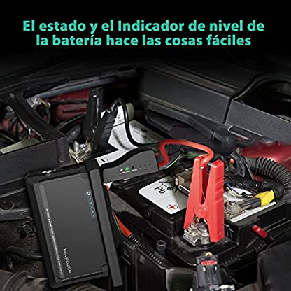 Jump Starter 18000mAh Arrancador de Coche de 600A Bateria Externa Pack de Emergencia Dual USB, Protección de Seguridad, para Todos Motores Diesel o Gasolina 3L o 6L