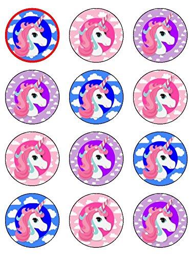 Snowflakes Cake Toppers 24 Assorties Unicorn Premium Papier de Riz pour gâteaux (4.5cms x 4.5 cms)