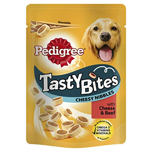d8a112de9f54 Pedigree Tasty Bites Dog Treats Cheesy Nibbles with Beef, 140 g (Pack of 8)