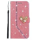 MoEvn Galaxy S8 Plus Leder Hülle, 3D Liebe Glitter Diamond Magnetverschluss Hülle Stil PU Leder Schutz Hülle HandyHülle Premium Flip Wallet Case mit Standfunktion für Samsung Galaxy S8 Plus, Rosa