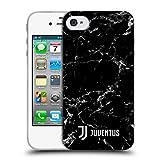 Head Case Designs Offizielle Juventus Football Club Schwarz 2 2017/18 Marmor Soft Gel Hülle für Apple iPhone 4 / iPhone 4S