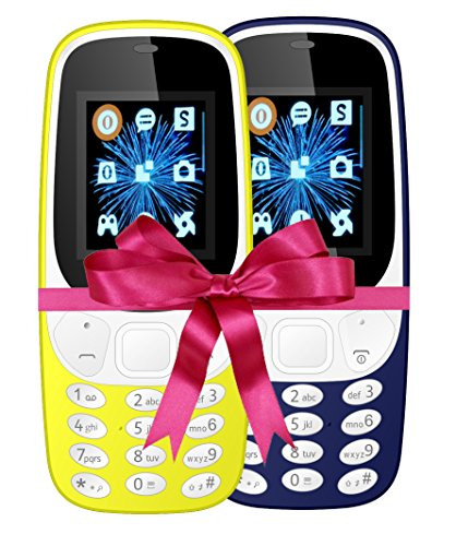 IKALL 4.57 Cm (1.8 Inch) Mobile Phone Combo - K3310 (Yellow & Dark Blue) With Feature Of Currency Detector