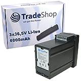 Trade-Shop Premium Akku 3x36,5V 6000mAh Li-Ion ersetzt Wolf Power Pack 1, 4939090, 4937065 für Wolf Garten 37 Rasenmäher, 40 Rasenmäher