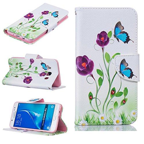 Nancen Compatible avec Samsung Galaxy J5 2016 / SM-J510 (5,2 pouces) Coque, Motif Colorés Housse Étui Style de Livre Avec Stand Fonction Portefeuille et Carte Poches
