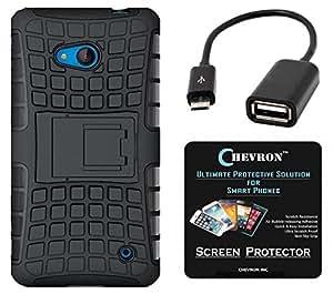 Chevron Hybrid Military Grade Dual Armor Kick Stand Back Cover Case for Microsoft Lumia 640 with HD Screen Guard & Micro OTG Cable (Space Black)