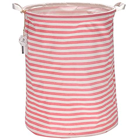 "Sea Team 19.7"" Large Sized Waterproof Coating Ramie Cotton Fabric Folding Laundry Hamper Bucket Cylindric Burlap Canvas Storage Basket with Stylish Pink & White Stripe Design"