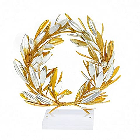 Olive Wreath 24 Karat Gold & 925 Sterling Silver Plated Decorative Ornament Handmade - Office, Desk, Anniversary, Wedding, Valentines Gift 16cm (6.3) by EliteCrafters