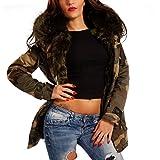 Young-Fashion Damen Camouflage Parka Winterjacke XXL Fellkapuze Kapuzen Jacke Military Army-Look Jacket, Farbe:Khaki;Größe:34/36