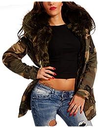 Damen Camouflage Parka Winterjacke XXL Fellkapuze Kapuzen Jacke Military Army-Look Jacket