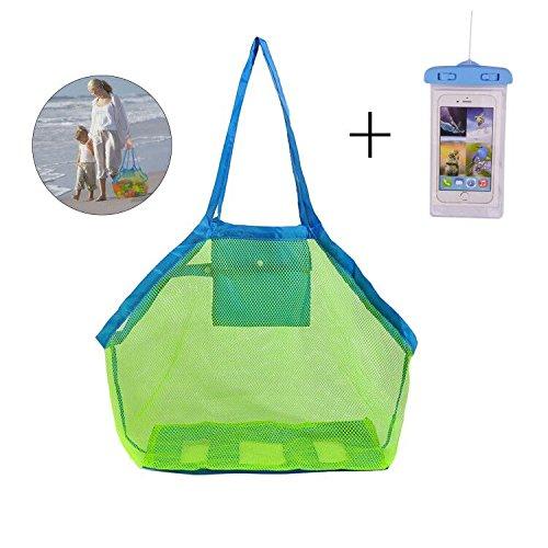 KAKOO-Groe-Mesh-Strandtasche-fr-Kinder-Strand-Schwimmen-Spielzeug-Lagerung-Wasserdichte-Schutzhlle-fr-Handy-Weg-von-Sand-und-Wasser
