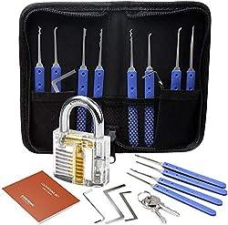 Lockpicking Set, Eventronic 17-Teiliges Dietrich Set mit 1 Transparentem Trainingsschlössern und Anleitung für Schlosserei, Anfänger und Profisrleicht