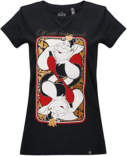 (GOZOO Alice im Wunderland T-Shirt Damen Queen of Hearts 100% Baumwolle, Sehr Hochwertiger Druck Schwarz M)