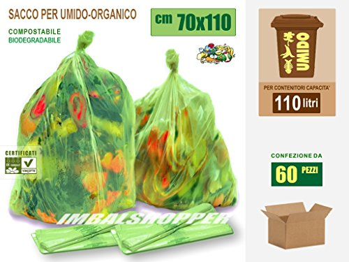 Sacchi Raccolta Umido e Organico cm 70x110 (110 litri) - 60 pezzi - Biodegradabili Compostabili