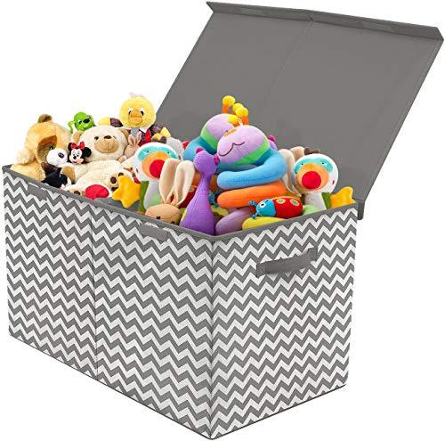 Cesto portagiochi bambini 2a generazione scatola cesta grande porta oggetti giochi neonato bimbo contenitore giocattoli con coperchio removibile,organizzatore, baule portaoggetti