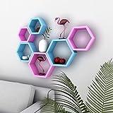Desi Karigar Wall Mount Shelves Hexagon Shape Set of 6 Wall Shelves - Pink & Sky Blue