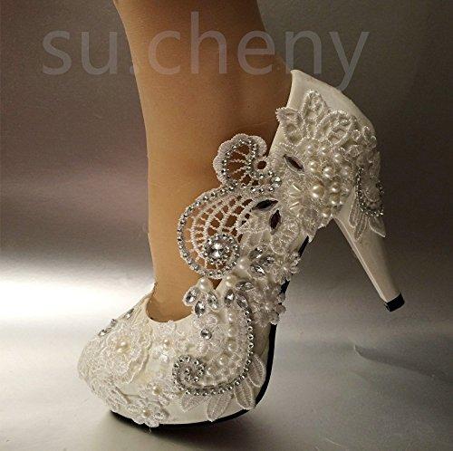 JINGXINSTORE Luce bianca di cristallo di pizzo scarpe Nozze Nuziale pompe tacchi party di nozze corte scarpe white