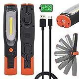 ENUOTEK USB Akku 4W LED Arbeitslampe Werkstattleuchte Taschenlampe Inspektionsleuchte LED mit Magnet und Zwei Haken, Hohe Helligkeit 400Lm und 2600mAh Lithium ionen Akku