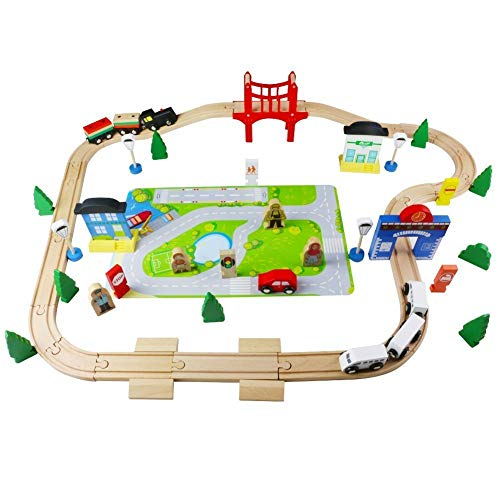 Wooden Train Track, 80Pcs Wooden Toys Set Wooden Classic Railway Flexible Track Car Set Building Kit Toy for Kids Aged 3 plus