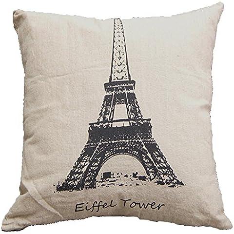 Vanki Paris style-Copriletto decorativo in cotone e lino, Federa per cuscino, motivo Vintage 45,72 x 45,72 (18