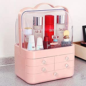 LFYPSM Makeup Storage Box, Modern Jewelry With Handle Storage Display Box, Waterproof And Dustproof Design, Suitable For Bathroom, Dressing Table And Countertop,Pink   8