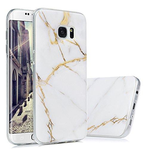 S7 Edge Marmor Hülle, KASOS Marble Handyhülle : Silikon Case Weich TPU Huelle mit IMD Technologie für Samsung Galaxy S7 EdgeWeißes Gold