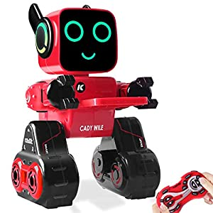 HBUDS Remote Control Robot Toy for kids,Touch & Sound Control, Speaks, Dance Moves, Plays Music, Light-up Eyes & Mouth. Built-in Coin Bank. Programmable, Rechargeable RC Robot Kit for Boys, Girls
